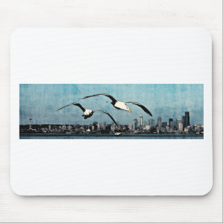 Seagulls Over City Mouse Pad