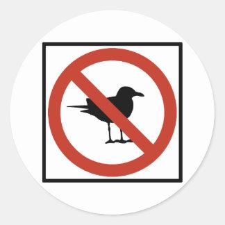 Seagulls Prohibited Round Stickers