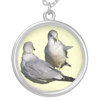 Seagulls Round Pendant Necklace