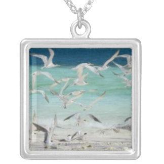 Seagulls Square Pendant Necklace
