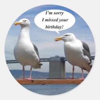 Seagulls talking classic round sticker
