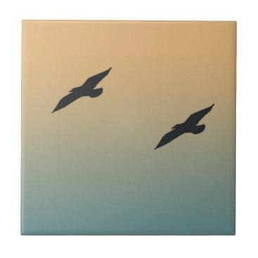 Beach Themed Seagulls Tile