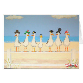 Seagulls With Hats Greeting Card