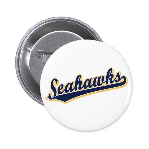 Seahawks en azul y oro pin redondo 5 cm