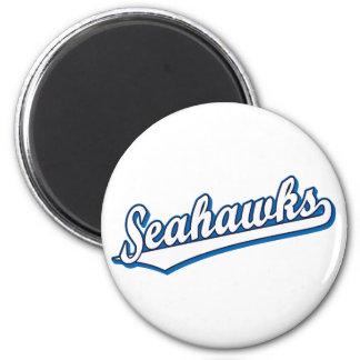 Seahawks en blanco y azul imán redondo 5 cm