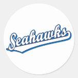 Seahawks en blanco y azul pegatinas redondas