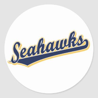 Seahawks in Blue and Gold Classic Round Sticker