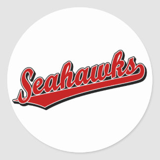 Seahawks in Red Classic Round Sticker