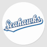 Seahawks in White and Blue Round Stickers