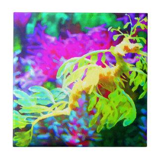Seahorse abstracto azulejo cuadrado pequeño