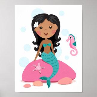 Seahorse afroamericano de las estrellas de mar del poster
