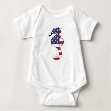 "USA Themed Seahorse ""American Flag"" Baby Bodysuit"