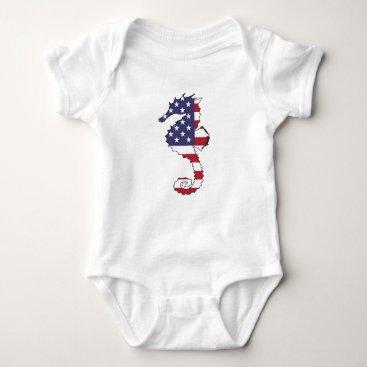 "USA Themed Seahorse ""American Flag"" Baby Bodysuit"