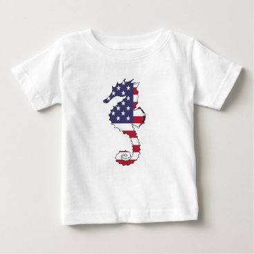 "USA Themed Seahorse ""American Flag"" Baby T-Shirt"