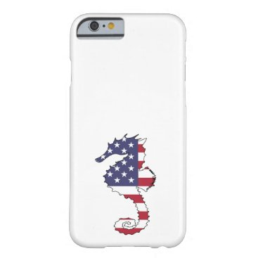 "USA Themed Seahorse ""American Flag"" Barely There iPhone 6 Case"