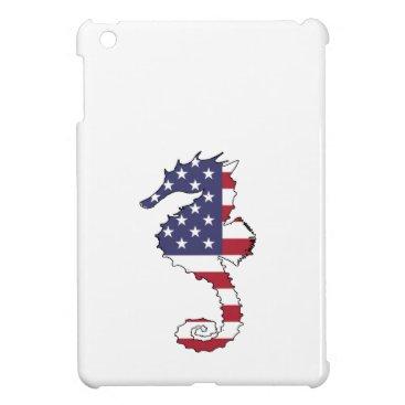 """USA Themed Seahorse """"American Flag"""" iPad Mini Cases"""