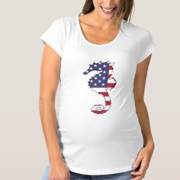 "USA Themed Seahorse ""American Flag"" Maternity T-Shirt"