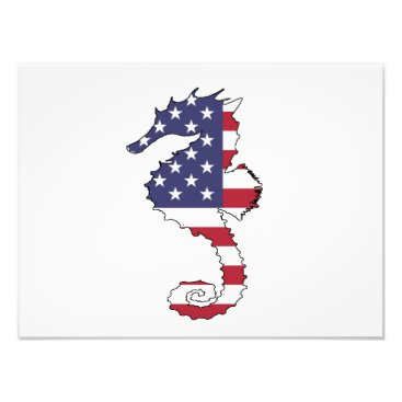 "USA Themed Seahorse ""American Flag"" Photo Print"