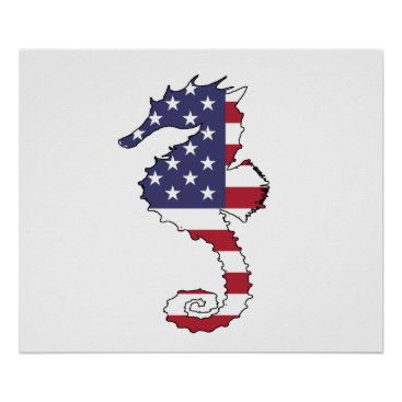 "USA Themed Seahorse ""American Flag"" Poster"