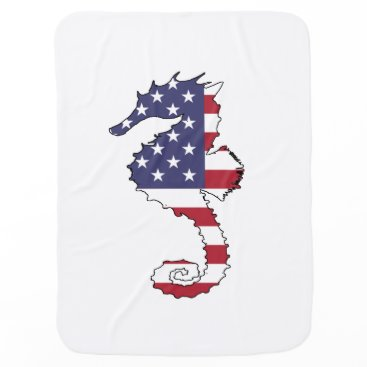 "USA Themed Seahorse ""American Flag"" Swaddle Blanket"