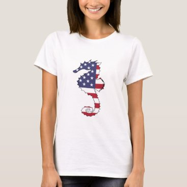 "USA Themed Seahorse ""American Flag"" T-Shirt"