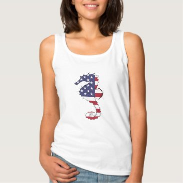 "USA Themed Seahorse ""American Flag"" Tank Top"