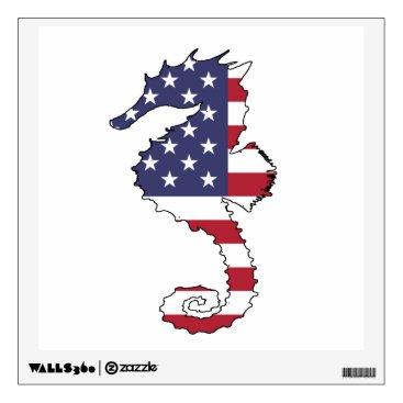 "USA Themed Seahorse ""American Flag"" Wall Sticker"