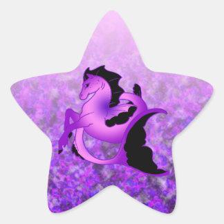 Seahorse Amethyst ligero Pegatina En Forma De Estrella