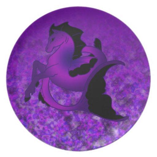 Seahorse Amethyst oscuro Plato De Cena