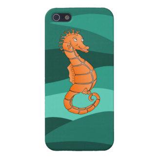 Seahorse anaranjado en el mar verde iPhone 5 fundas