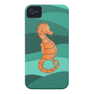 Seahorse anaranjado en el mar verde que remolina Case-Mate iPhone 4 funda