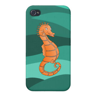 Seahorse anaranjado en el mar verde que remolina iPhone 4 cárcasas