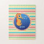 Seahorse anaranjado; Rayas brillantes del arco Puzzle Con Fotos