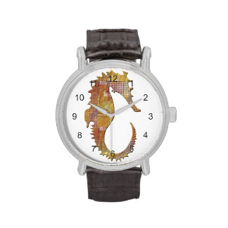 Seahorse anaranjado relojes de pulsera