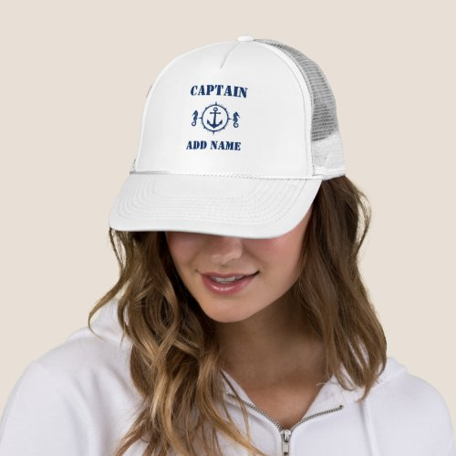 Seahorse Anchor Captain Add Name or Boat Name Trucker Hat