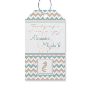 Beach Themed Seahorse and Chevron Wedding Thank You Gift Tags