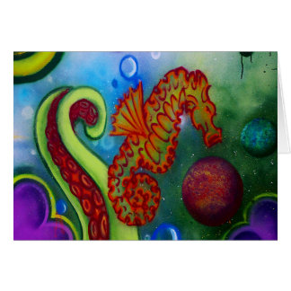 seahorse and octopus tentacle card