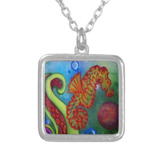seahorse and octopus tentacle square pendant necklace