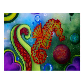 seahorse and octopus tentacle post cards