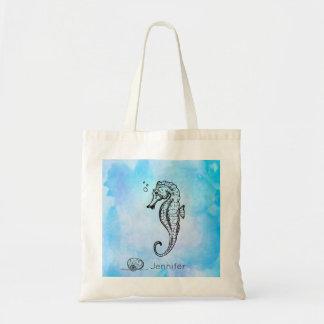 Seahorse and Seashell on Blue Watercolor Custom Tote Bag