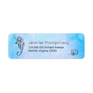 Seahorse and Seashell on Blue Watercolor Label