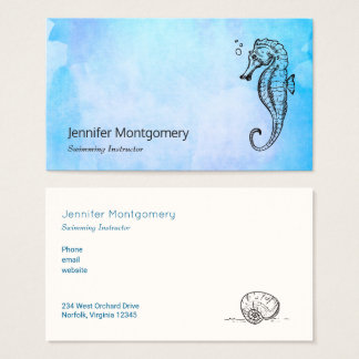 Seahorse and Seashell on Blue Watercolor Nautical Business Card