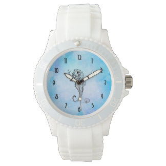 Seahorse and Seashell on Blue Watercolor Wristwatches
