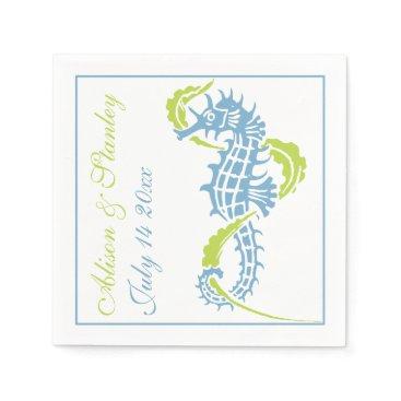 Beach Themed Seahorse and seaweed blue, lime green wedding napkin