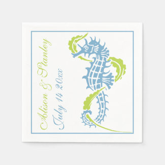 Seahorse and seaweed blue, lime green wedding paper napkins