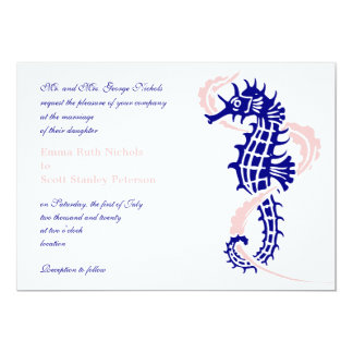 Seahorse and seaweed navy blue, pink wedding 5x7 paper invitation card