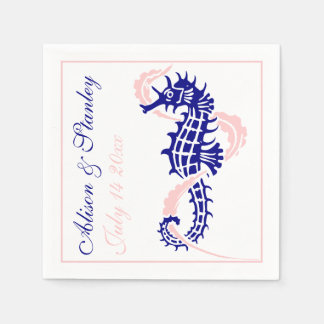 Seahorse and seaweed navy blue, pink wedding disposable napkins