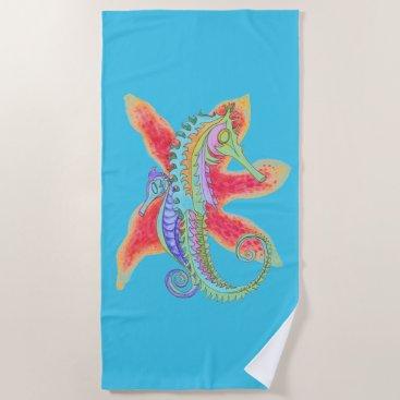 Beach Themed seahorse and starfish beach towel