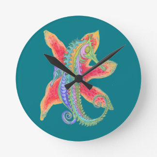 seahorse and starfish clock on teal