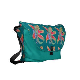 seahorse and starfish messenger bag